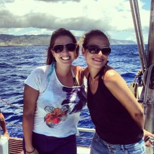 Dani e eu, no barco (antes de passar mal)