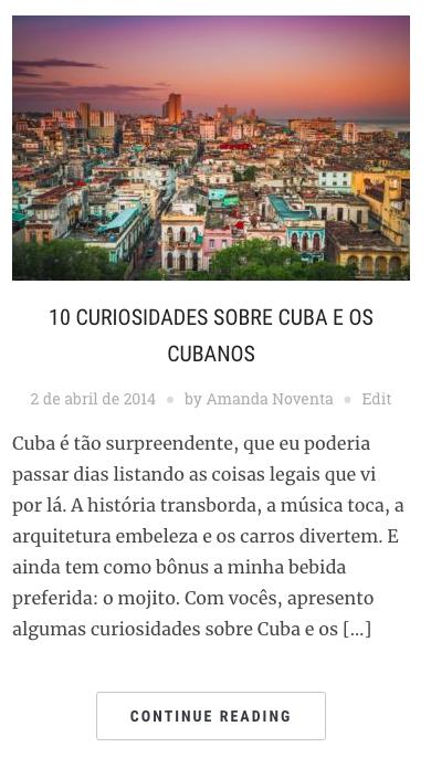 Curiosidades sobre Cuba no blog Amanda Viaja