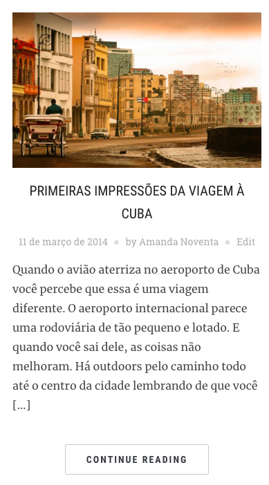 Primeiras impressões de Cuba, no blog Amanda Viaja