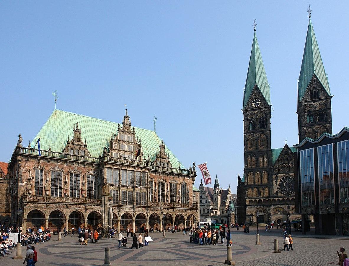 Markplatz, a principal praça do centro histórico de Bremen